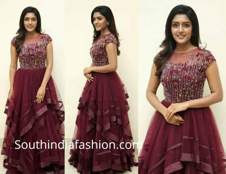 eesha rebba maroon gown at aravinda sametha success meet