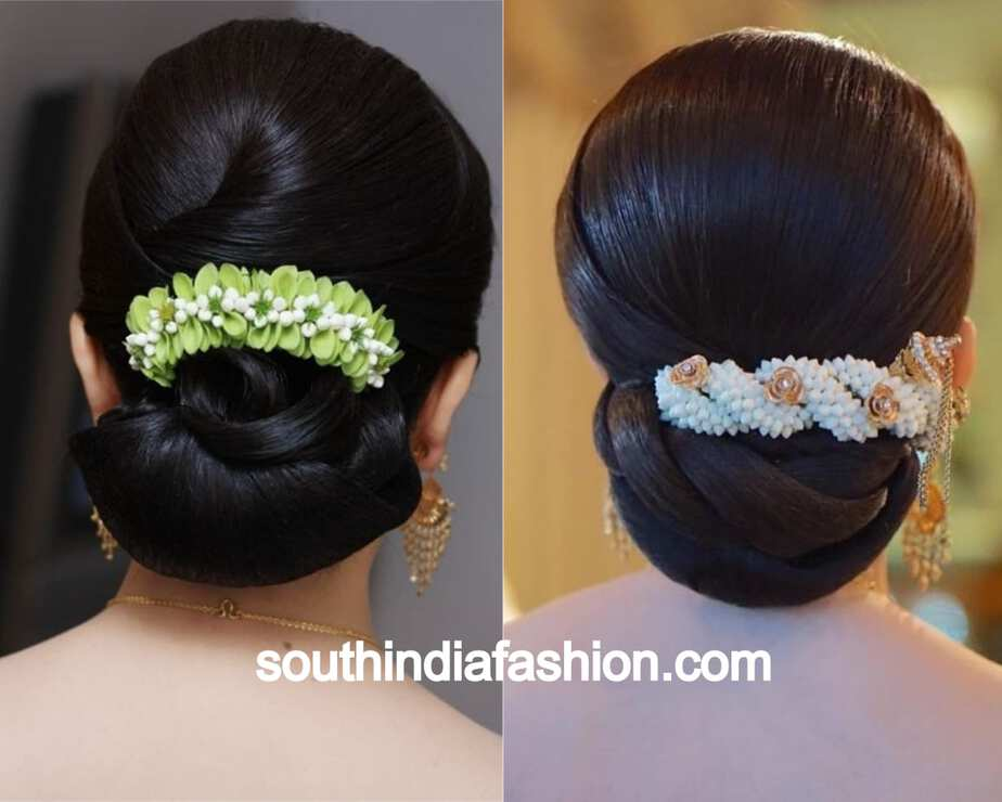 fancy lower bun with flowers only on top
