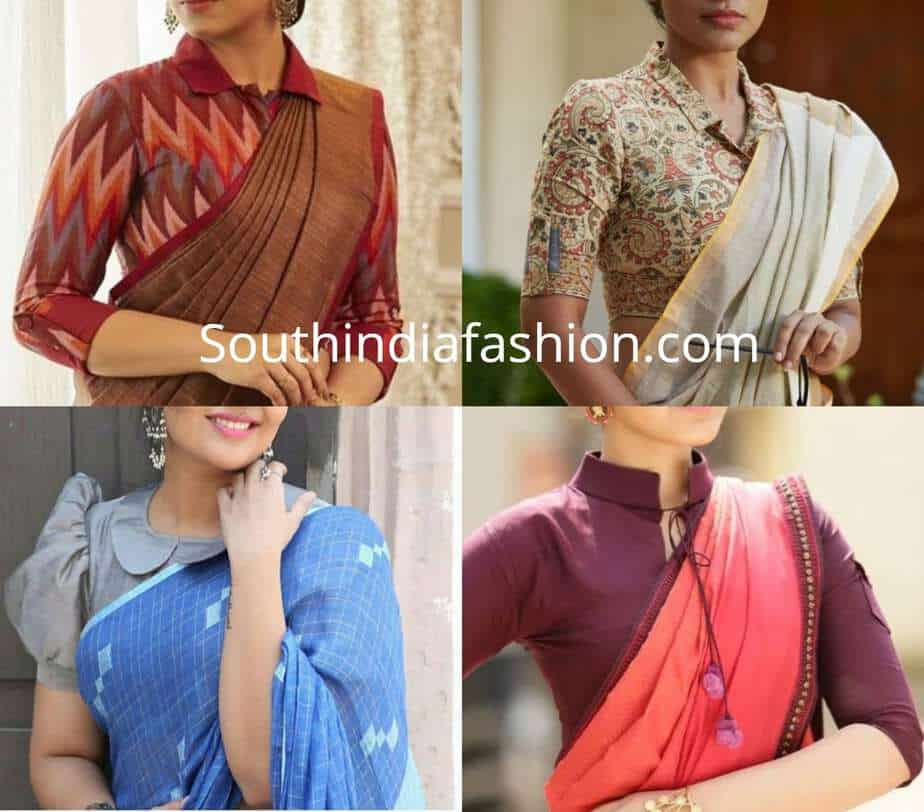 collar neck formal blouse designs for sarees