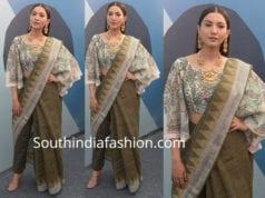 gauhar khan saree with pants lmifw 2018
