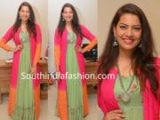 singer geetha madhuri green dress pink jacket the hlabel