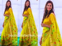 geetha madhuri yellow saree