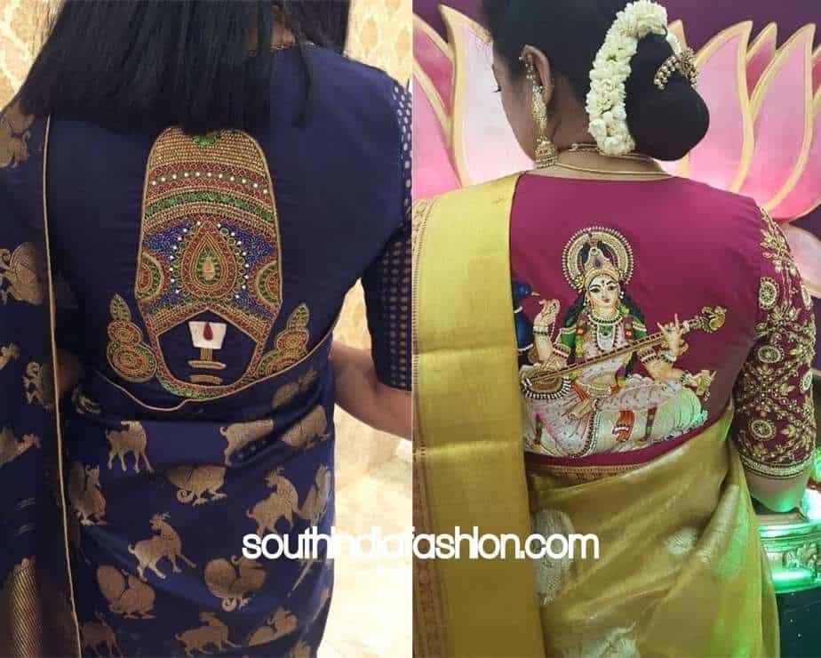 saree blouse with god design