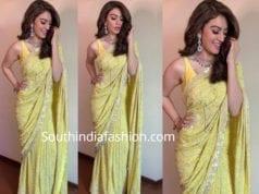 hansika yellow chikankari saree