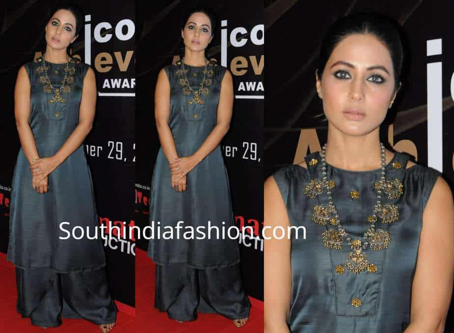 hina khan grey palazzo suit iconic achievers awards