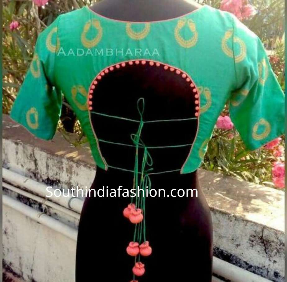 inverted u shaped saree blouse back neck designs
