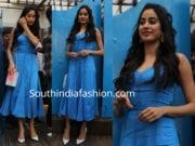 janhvi kapoor blue dress at neha dhupia baby shower