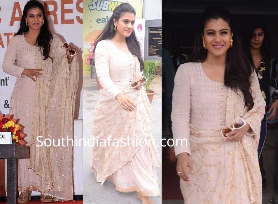 kajol cream color anarkali suit world heart day
