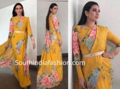 karisma kapoor yellow floral print sabyasachi saree