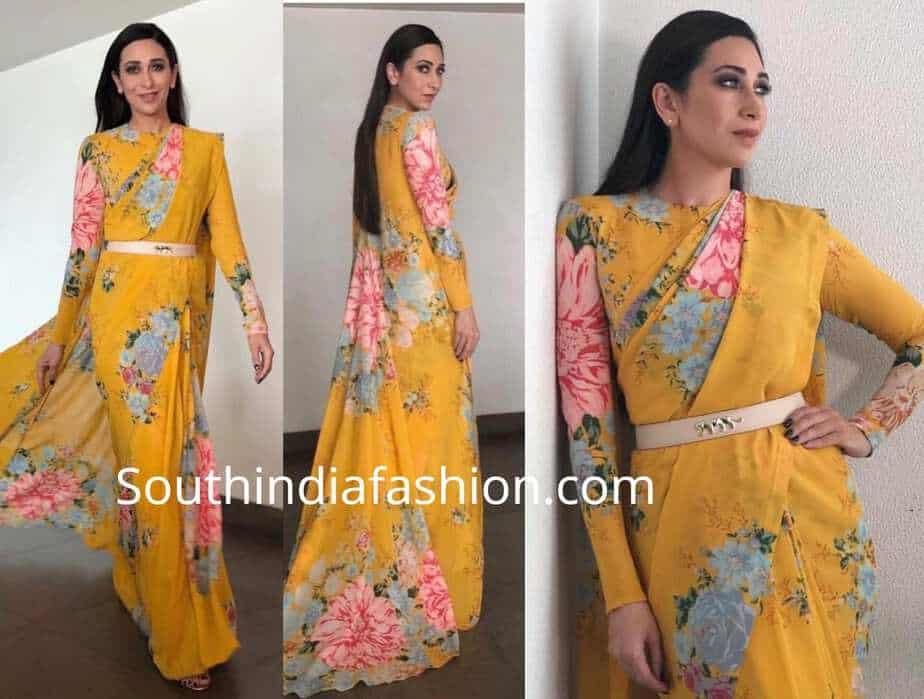 eb1f07fb211a65 karisma kapoor yellow floral print sabyasachi saree