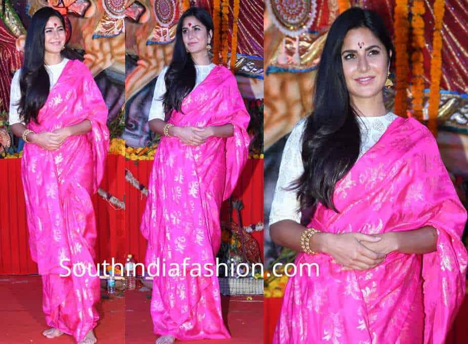 katrina kaif pink saree by masaba for durga puja