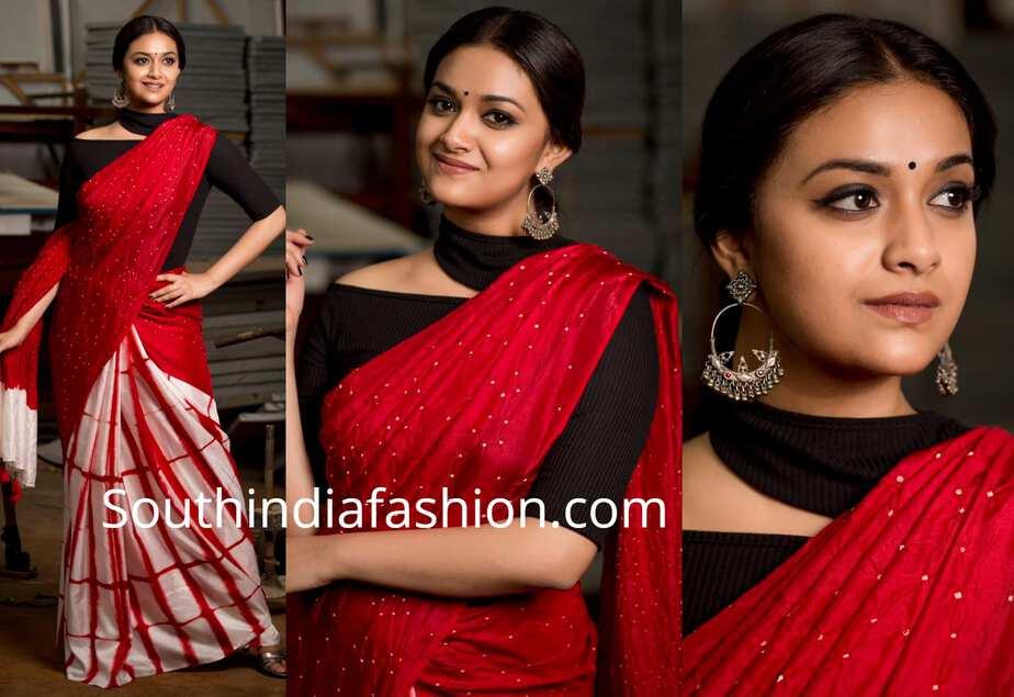 6620cb00efe9ea Keerthy Suresh in a half and half saree – South India Fashion