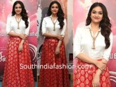 keerthy suresh banaras skirt white shirt sandakozhi 2 pre release event