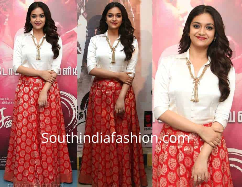 84d55bbdd052f4 Keerthy Suresh at Sandakozhi 2 Pre Release Event. By. southindiafashion