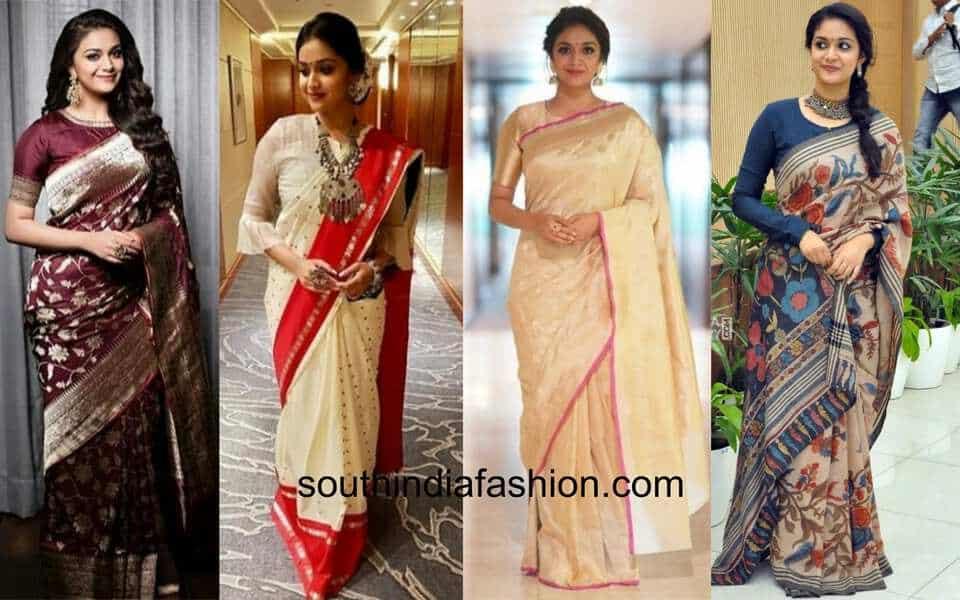 keerthy suresh saree looks