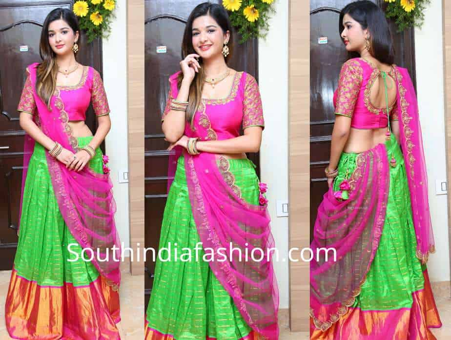krutika singh rathore pattu half saree