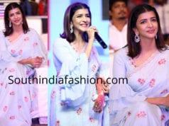 lakshmi manchu blue saree ruffle blouse