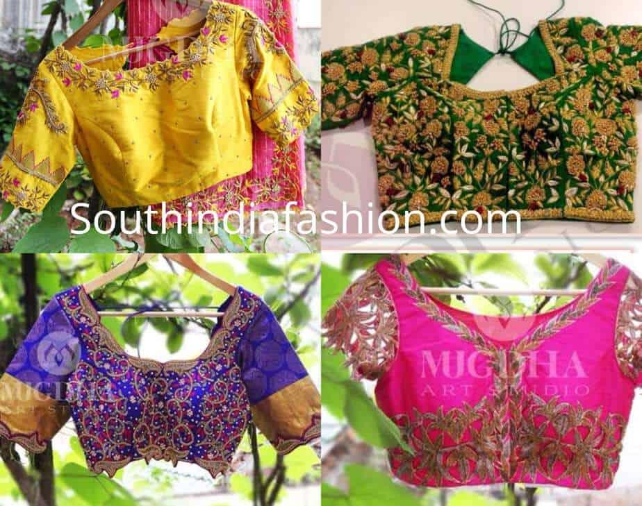 maggam work blouse designs pattu sarees