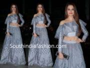 monic bedi grey long skirt crop top at yuvika chaudhary sangeet