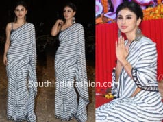 mouni roya stripes saree durga puja