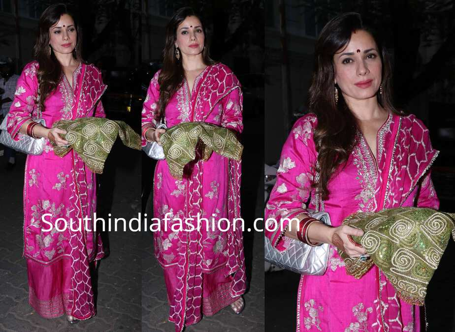 neelam kothari pink palazzo suit karwa chauth