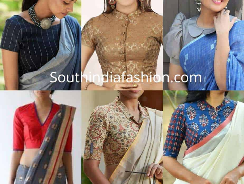 office wear saree blouse designs