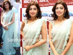 pranitha subhash blue ruffle saree videms silks launch
