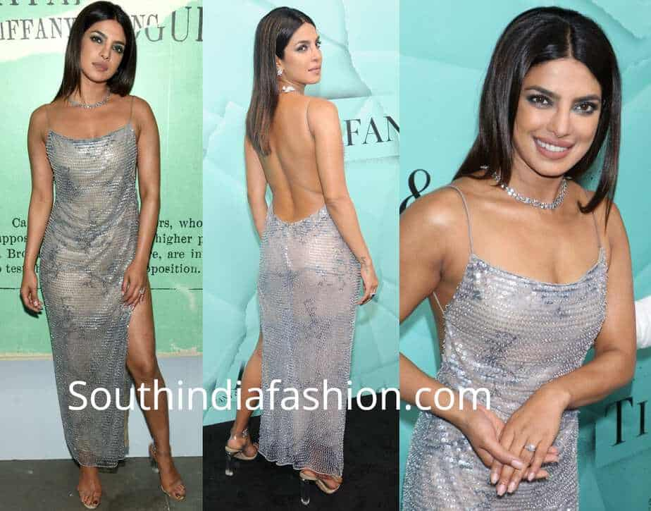 priyanka chopra grey dress by armani at tiffany blue book launch