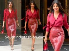 priyanka chopra red skirt and shirt