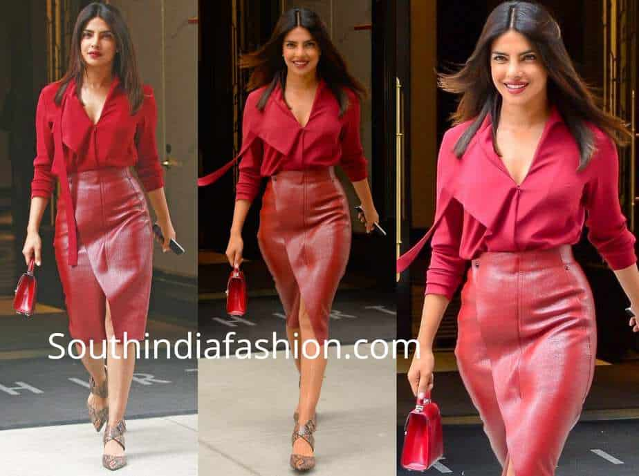 priyanka chopra red skirt and shirt