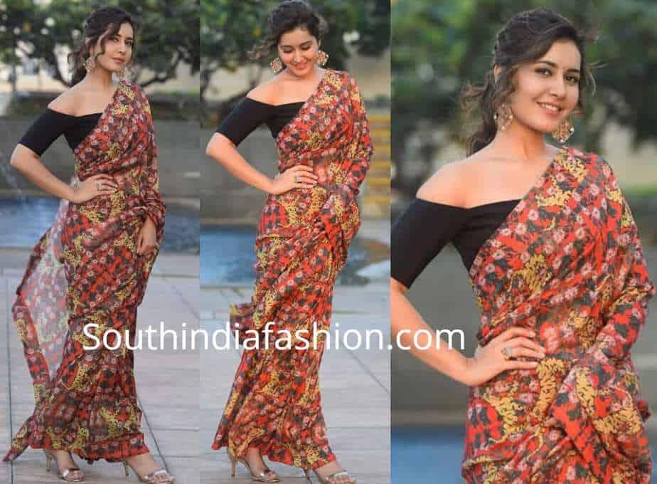 e625440048745c raashi khanna printed saree black off shoulder blouse