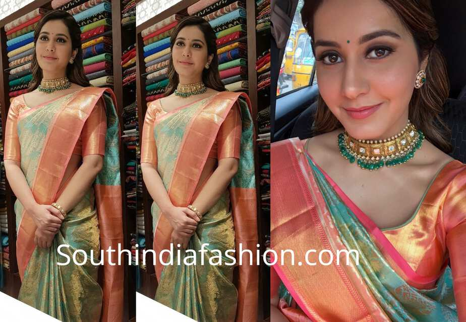 raashi khanna green pattu saree warangal shopping mall launch