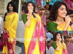 rashmika mandanna yellow saree cmr shopping mall launch
