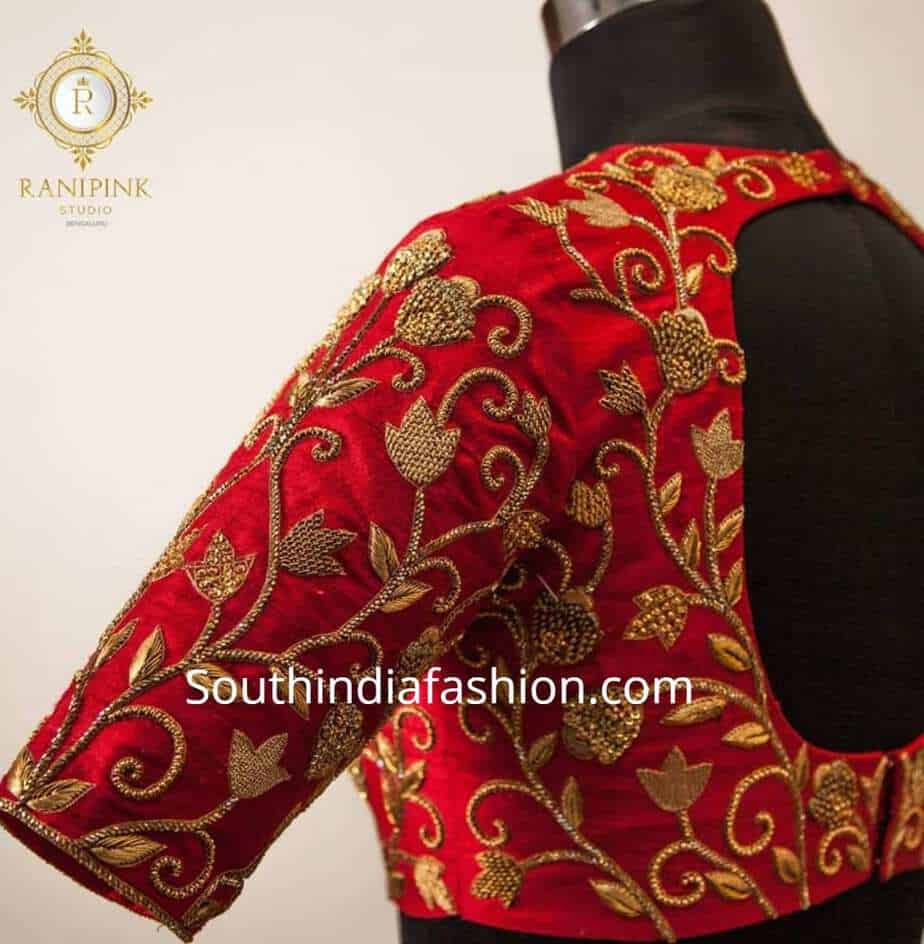 maggam work bridal blouse designs for silk sarees