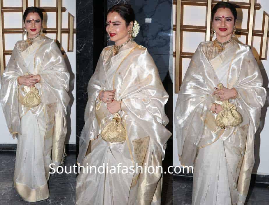 rekha white saree at hema malini birthday bash 2018