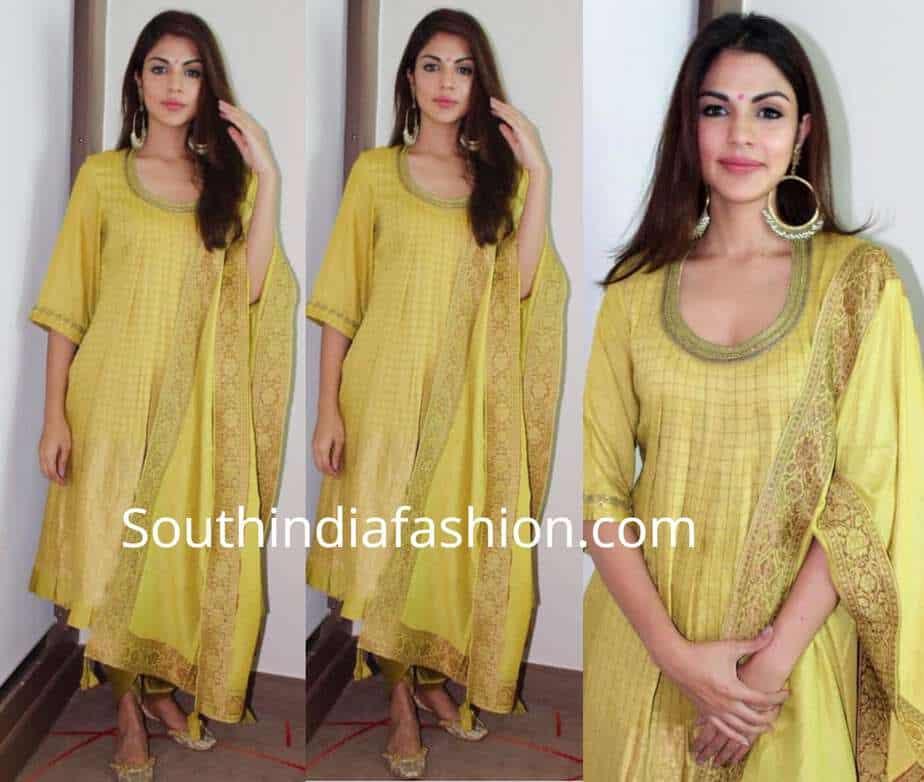 rhea chakraborty yellow salwar kameez jalebi promotions