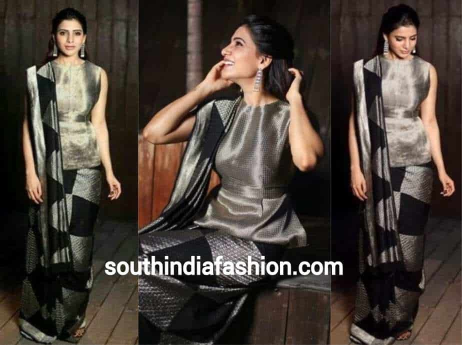 samantha in balck and grey saree