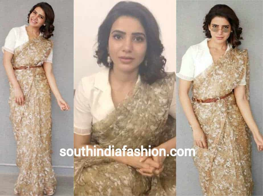 samantha in brown saree