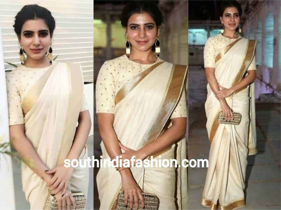 samantha in cream cotton silk saree