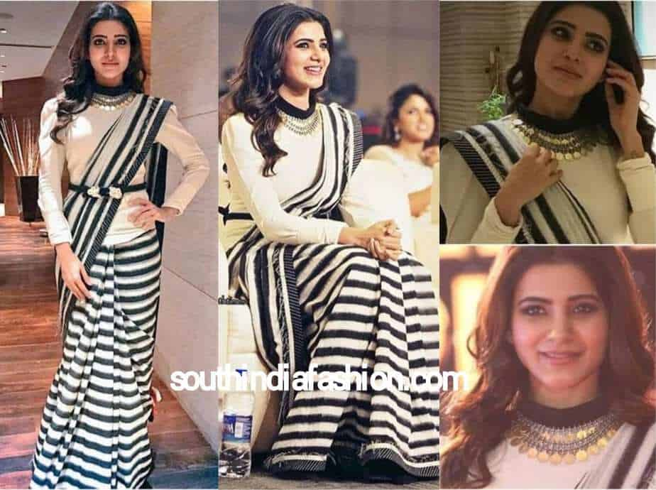 samantha in striped black and white saree