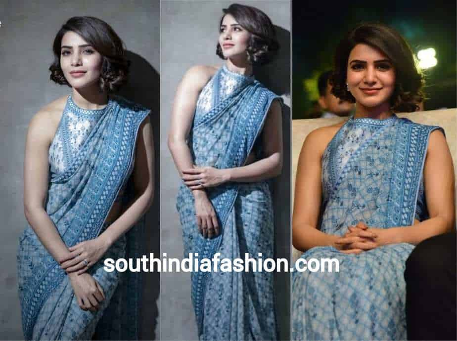 samantha in white and blue saree