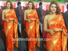 shraddha das orange banara silk saree dussehra