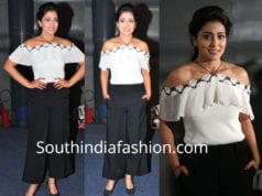 shriya saran black pants white top