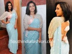 sruthi hariharan blue saree cape blouse