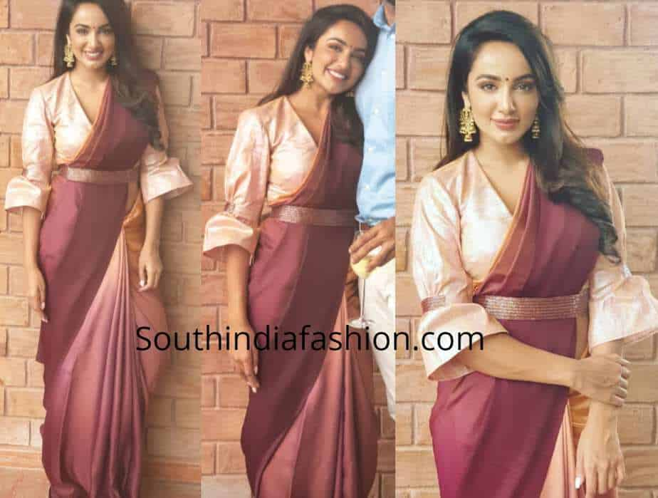 tejaswi madivada saree with belt
