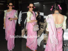 kangana ranaut airport pink saree with pigtail ribbon braids