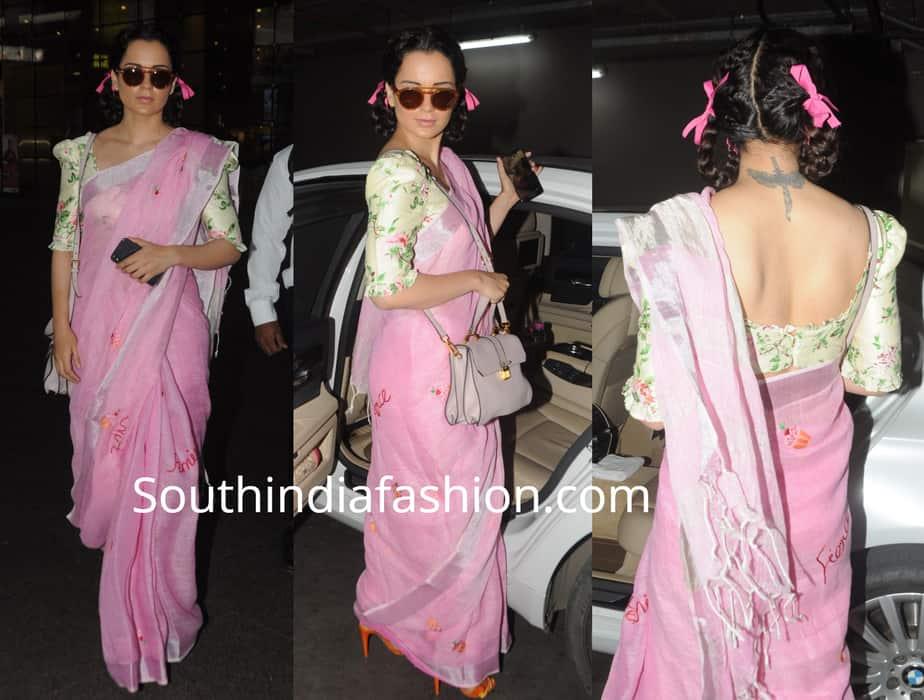 kangana ranaut airport pink saree with pigtail ribbon braids