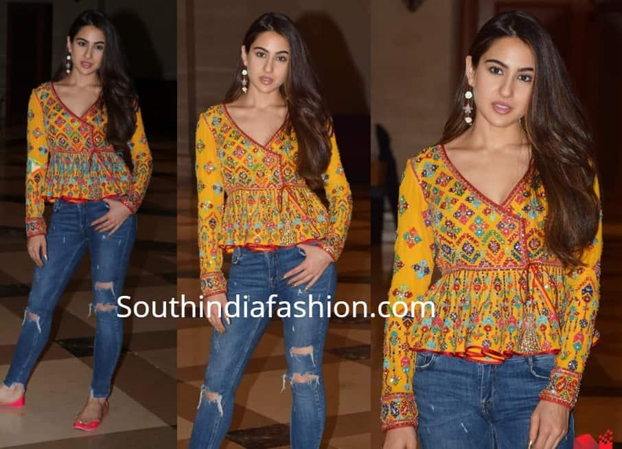 sara ali khan jeans yellow top kedarnath promotions