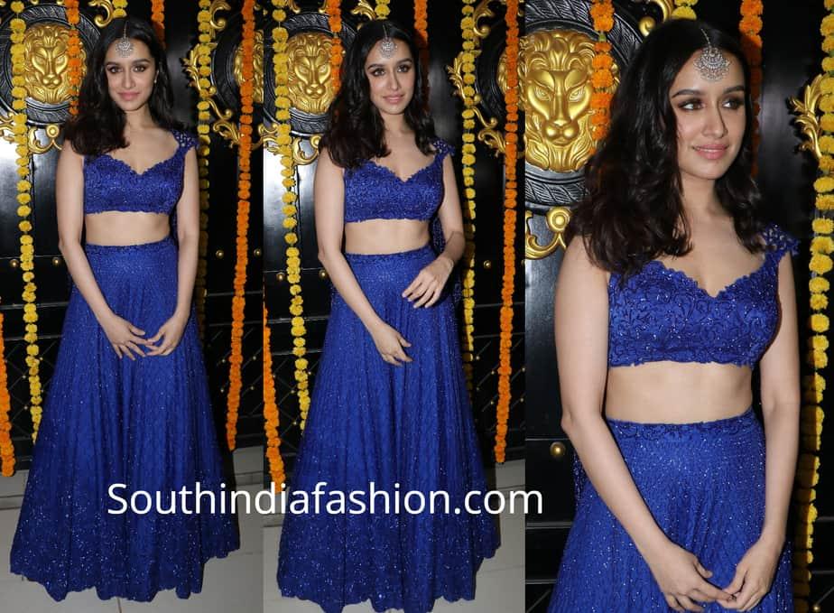 shraddha kapoor in blue long skirt and crop top at ekta kapoor diwali bash