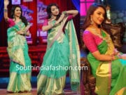 tejaswi madivada in green silk saree for laughter challenge